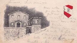 DEPART LAUSANNE 1904 / CARTE AVEC DESSIN ET DRAPEAU - VD Vaud