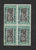 COB N°30 A Timbres Du Congo Surchargés En Typographie Bleu Foncé 15c Vert En Blocs De Quatre Côte 4.00€ XX MNH - Ruanda-Urundi