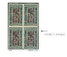 COB N°30 B Timbres Du Congo Surchargés En Typographie Bleu Foncé 15c Vert En Blocs De Quatre Côte 4.00€ XX MNH - Ruanda-Urundi