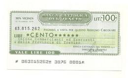1976 - Italia - La Banca Del Friuli - Associazione Commercianti Provincia Di Udine -  Sovrastampato - [10] Checks And Mini-checks