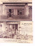 2 CARTES POSTALES - MAGASINS DE CYCLE - GIGNAC - ALAIS - - Cyclisme