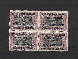 COB N°33 A Timbres Du Congo Surchargés En Typographie Bleu Foncé 50 C Brun Lilacé En Blocs De Quatre Côte 28.00€ X MH - Ruanda-Urundi