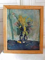 Jean ROGER (1924-2015) Nature Morte Au Bouquet Fleuri En Vase Huile Sur Carton Stée 1944 - Huiles