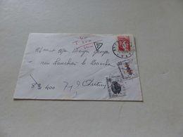 A-34 , Lettre , TAxe Type Scarabé Et Insecte , Triangle T , Pour Autun ?, 1985 - Postage Due