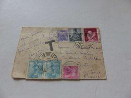 A-36 , 1955 , Taxe 5F Et 4 F, Lettre Espagne 140 Pesteas , Pour Autun - Postage Due