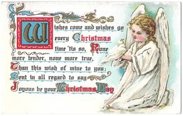 1911 Art Nouveau Christmas Motto Postcard Of Pretty Angel Holding Dove - Cartes Postales
