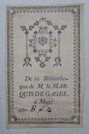 Ex-libris Typographique Illustré XVIIIème - BELGIQUE - MARQUIS DE GAGES à Mons - Ex-libris