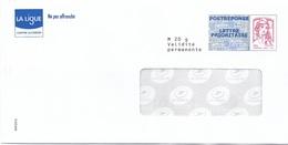 ENTIERS POSTAUX, POSTRÉPONSE LIGUE CONTRE LE CANCER LETTRE PRIORITAIRE CIAPPA KAVENA 15P374 - Postal Stamped Stationery