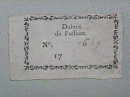 Ex-libris Typographique XVIIIème - BELGIQUE - DUBOIS DE FOSSEUX - Bookplates