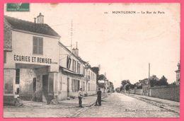 Montgeron - La Rue De Paris - Ecuries Et Remises - Animée - Edit. VERNE - 1916 - Montgeron