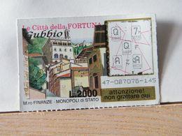 GV-16 GRATTA E VINCI -  LE CITTÀ DELLA FORTUNA -  GUBBIO -  BIGLIETTO N° 47-0878075-145 - Biglietti Della Lotteria