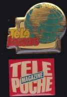 65771-Lot De 2  Pin's-Journal.Presse.Magazine.Télé Loisirs.télé Poche - Mass Media