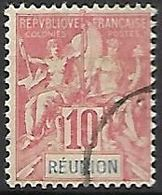 REUNION.   -  1900.   YT N° 47 Oblitéré.  Type Groupe - Reunion Island (1852-1975)
