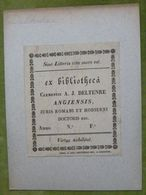 Ex-libris Typographique XVIIIème - PAYS BAS - A. J. DELTENRE Angiensis - Bookplates