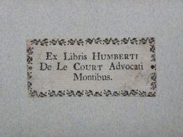 Ex-libris Typographique XVIIIème - BELGIQUE - HUMBERT DE LE COURT - Ex-libris