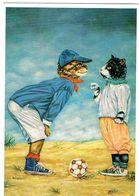 2 Chats Habillés  -dressed  Cats -katzen-  Poezen Voetbal - Gatti