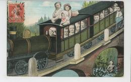 ENFANTS - BEBES - Jolie Carte Fantaisie Bébés Dans Train Passant Sur Un Pont - Babies
