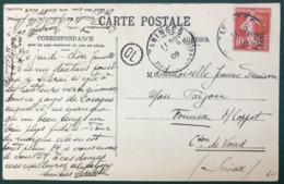 France N°138 Sur CPA 1909 - TAD TANINGES Haute-Savoie Pour La Suisse + OL - (B294) - Postmark Collection (Covers)