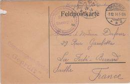 France Guerre 14/18 Feld Postkarte Envoyée Par PG Français Du Camp D'OHRDRUF (Thuringe) , Cachet Du 8.12.14 - Guerre De 1914-18