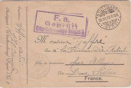 France Guerre 14/18 Carte En Franchise Pour PG Français Du Camp De STUTTGART 2, Cachet Du 25.XI.15 - Guerre De 1914-18