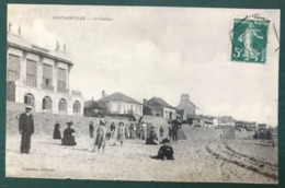 France N°137 Sur CPA 1910 - TAD Recette Auxiliaire COUTAINVILLE, Manche - (B296) - Postmark Collection (Covers)