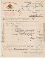 CHARENTE:  E. MERLIN & Fils, Distilleries & Vignobles à Jarnac / Fact. De 1920, Dorure Au Cuivre Filigrane - Alimentaire