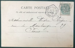 France N°111 Sur CPA 1903 - TAD Recette Auxiliaire PONTAILLAC, Charente Inférieure - (B297) - Postmark Collection (Covers)