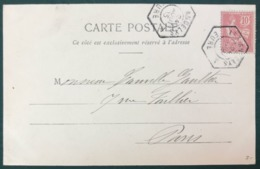 France N°124 Sur CPA 1903 - TAD Recette Auxiliaire LES ANDELYS, Eure - (B298) - Postmark Collection (Covers)