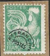 FRANCE  -  Preo  114  - Coq  24c  -  Sur Fragment - Cote 5e - 1953-1960