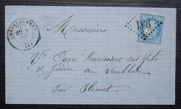 Châtelaudren 1872 GC 951 (Côtes Du Nord), Pour Le Vaublanc Par Plemet, Cachet Tireté Au Dos + Cachet De Passe 3533 - Postmark Collection (Covers)