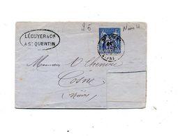 Lettre Cachet Saint Quentin Sur Sage +cosne Decoupe ??, - Postmark Collection (Covers)