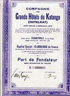 Les GRANDS HÔTELS Du KATANGA (Hotelkat); Part De Fondateur - Tourisme