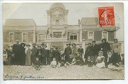 CARTE PHOTO * CAYEUX Sur MER Groupe Hommes Femmes Enfants Devant Le Casino → Annotée 7 Juillet 1910 - Cayeux Sur Mer