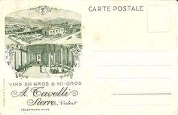 "8539 "" A. TAVELLI-SIERRE-VALAIS-VINS EN GROS  MI-GROS""-CARTOLINA POSTALE ORIGINALE NON SPEDITA - Winkels"