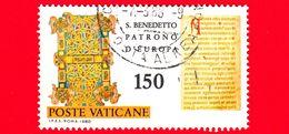 VATICANO - Usato - 1980 - 15º Centenario Della Nascita Di San Benedetto Da Norcia - Pagina Della Regola - 150 L. - Vatican