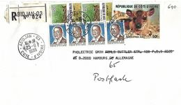 Cote D'Ivoire 1986 Abidjan WWF Zebra Duiker Serval Cat Michel F841 Registered Cover - Brieven En Documenten