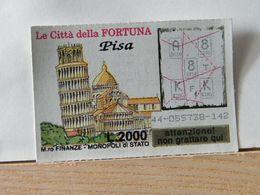 GV-32 GRATTA E VINCI -  LE CITTÀ DELLA FORTUNA -  PISA -  BIGLIETTO N° 44-055738-142 - Biglietti Della Lotteria