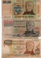 LOTTO ARGENTINA 1000/100000/500000  PESOS  CIRC. - Argentinien