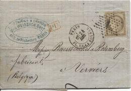 REF1396/ TP 56 S/LAC Max Weinbach Draperies C.Paris Pl.Bourse 24/12/+ Etoile 1 > Verviers Via Anvers C.d'arrivées - 1849-1876: Période Classique