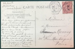 France N°129 Sur CPA 1905 - TAD Recette Auxiliaire PONTAILLAC, Charente Inférieure - (B299) - Postmark Collection (Covers)