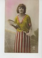 SPORT - TENNIS - Jolie Carte Fantaisie Portrait Femme Avec Raquette De Tennis - Tennis