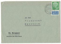 JB68   BRD Mannheim-Rheinau 1955 Theodor Heuss Mi. 183 + Notopfer - Covers & Documents