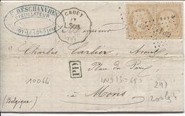 REF1397/ TP 55(2) S/LAC Deschanvres Distillateur Bucy-Le-Long C.convoyeur Crouy à L.Sois 1872 PTS GP 1° > Mons Belgique - 1849-1876: Période Classique