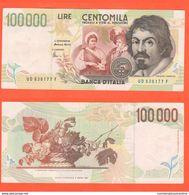 100.000 100000 Lire 1997 Caravaggio II° Tipo 20-2-1997 - 100000 Lire