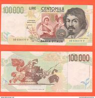 100.000 100000 Lire 1997 Caravaggio II° Tipo 20-2-1997 - [ 2] 1946-… : Républic