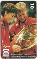 Denmark - Tele Danmark (chip) - Sports Team 1 - TDP155 - 08.1997, 1.800ex, 10kr, Used - Denmark