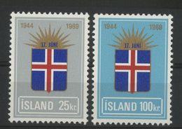 """ISLANDE ICELAND COTE 8.75 € N° 385 + 386 Neufs ** (MNH) """"25ème Anniversaire De La République"""" - Ungebraucht"""