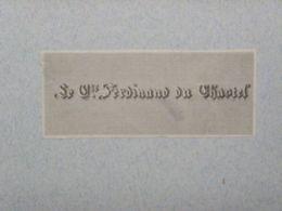 Ex-libris Typographique XIXème - BELGIQUE - LE COMTE FERDINAND DU CHASTEL - Bookplates