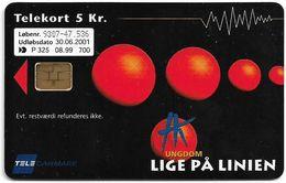 Denmark - Tele Danmark (chip) - Hk Ungdom - Helsingoer - TDP325 - 08.1999, 700ex, 5kr, Used - Denmark