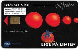 Denmark - Tele Danmark (chip) - Hk Ungdom - Aalborg - TDP326 - 08.1999, 1.200ex, 5kr, Used - Denmark